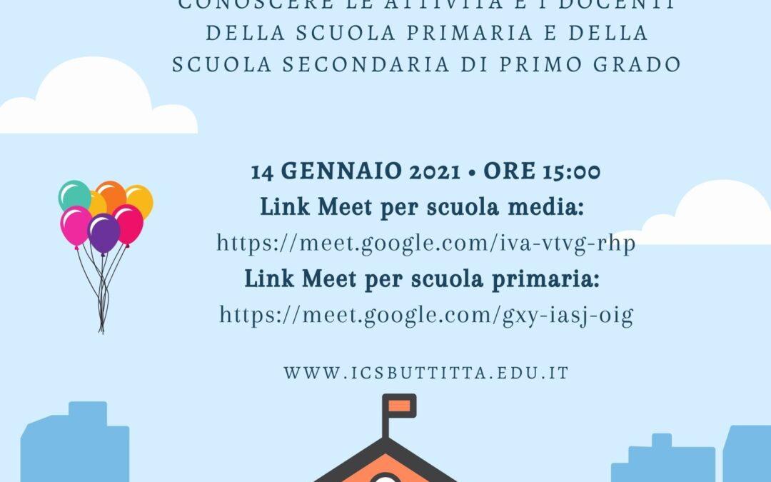 Open Day del 14 gennaio 2021. La nostra scuola si presenta!